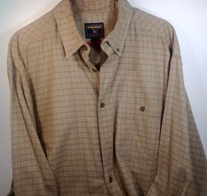 Woolrich Tan Plaid Cotton Men's XL Flannel Shirt